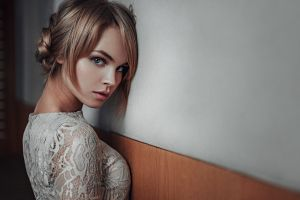 georgy chernyadyev dress blonde white dress model anastasia scheglova women