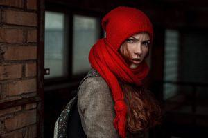 georgy chernyadyev oksana butovskaya redhead woolly hat women scarf