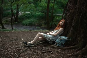 georgy chernyadyev women outdoors dress women redhead nature depth of field legs trees