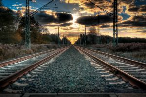 germany railway sunset