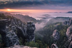 germany rock landscape sky forest clouds nature mist