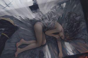 ghost blade wlop fantasy art panties sleeping painting in bed elves