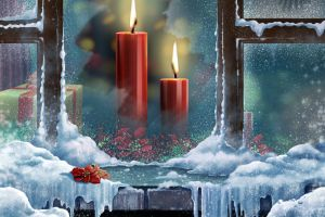gift snow candles frost window christmas