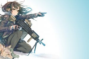 girls with guns anime girls fox original characters daito pantyhose anime m249 saw glasses weapon