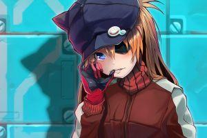 gloves eyepatches blushing asuka langley soryu sweater shadow neon genesis evangelion blue eyes anime girls asuka langley shikinami bangs