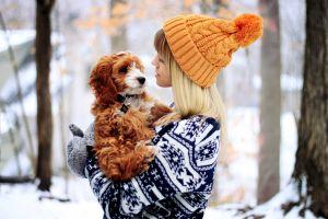 gloves snow women dog bonnet