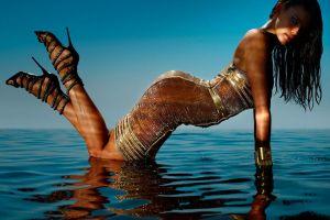 gold dress brunette long hair strapless dress wet hair model women high heels wet body bare shoulders