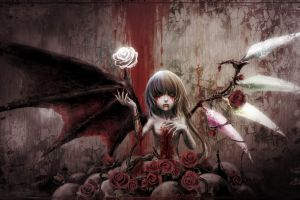 gothic flandre scarlet remilia scarlet blood touhou spooky wings