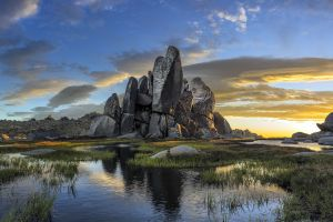 grass sky panoramas landscape pond nature water rock clouds australia morning