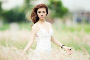 grass white dress asian model women