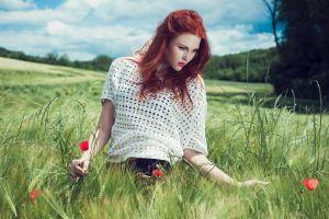grass women outdoors flowers redhead nature outdoors women model