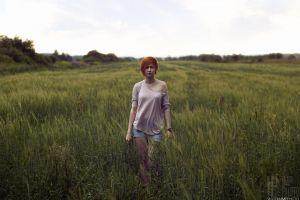 grass women women outdoors field halter top redhead