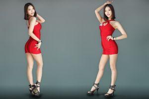 gray background go jinyoung asian brunette k-pop high heels