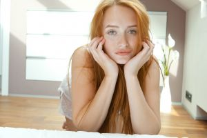 green eyes denisa heaven freckles redhead