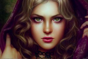green eyes fantasy girl face artwork women