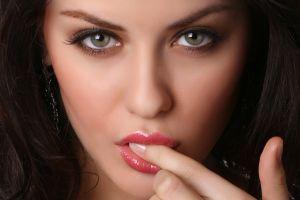 green eyes model women finger on lips face lips brunette