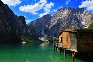 green lake pragser water mountains nature sea landscape forest clouds lake
