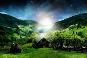 green nature digital art landscape