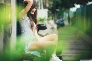 grey tops asian brunette shorts women sitting profile long hair depth of field