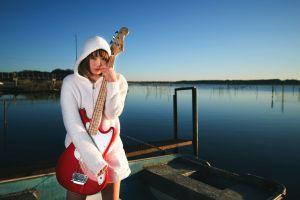 guitar bass guitars asian women outdoors