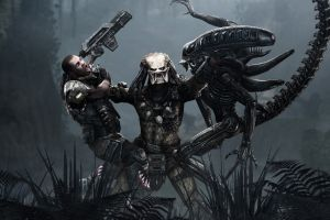 gun predator (movie) fantasy art aliens (movie) alien vs. predator movies battle xenomorph artwork men science fiction aliens