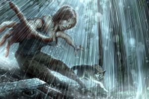 gun video games video game heroes lara croft tomb raider rain video game art
