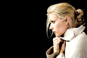 gwyneth paltrow black background side view simple background face coats white coat women black actress blue eyes blonde profile