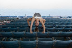 gymnastics red lipstick women bodysuit model flexible