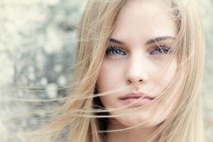hair   blonde eyes women face blue