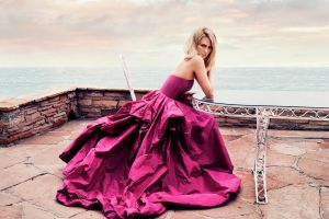 hair   dress blonde women evening purple prom horizon sea sky