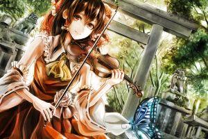 hakurei reimu touhou miko anime girls butterfly violin anime