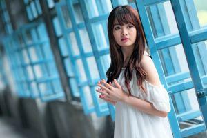 hallway brunette depth of field window asian women white clothing long hair open mouth model looking away taiwanese
