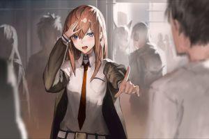 hands on head anime girls manga makise kurisu tie anime steins;gate