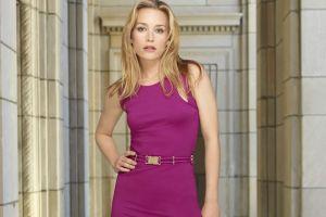 hands on hips long hair piper perabo celebrity blonde purple dresses