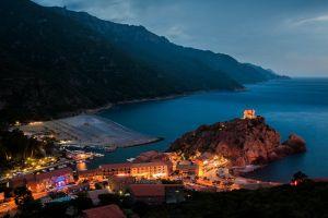 harbor cityscape landscape sea architecture mountains evening island building lights corsica nature