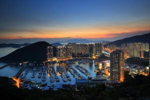 harbor hong kong sunset mountains