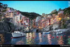 harbor italy cityscape town cinque terre boat riomaggiore