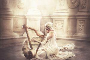harp women fantasy art model