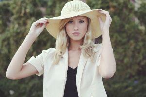 hat millinery straw hat blue eyes women white shirt blonde berit birkeland women outdoors looking at viewer women with hats