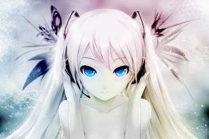 hatsune miku manga blue eyes anime girls white hair anime