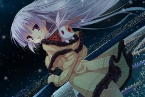 hatsuyuki sakura long hair visual novel pink eyes night rabbits anime girls snow