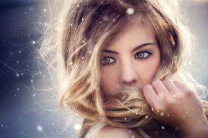 hazel eyes blonde depth of field model women portrait