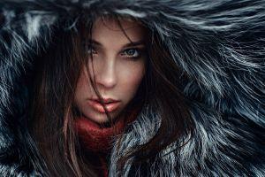 hazel eyes face brunette georgy chernyadyev women hoods