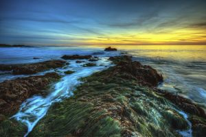 hdr beach landscape sunset sea