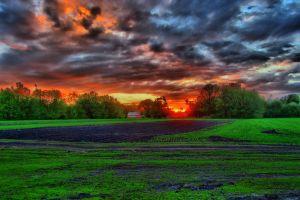hdr landscape sunset clouds
