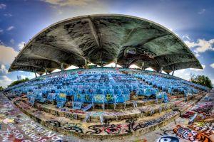 hdr stadium miami abandoned fisheye lens usa graffiti building
