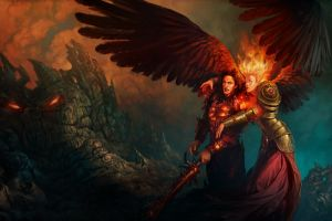 heroes of might and magic fantasy art sword might and magic women wings artwork angel fire