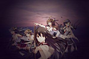 hiei (kancolle) kantai collection kongou (kancolle) akagi (kancolle) miko anime girls haruna (kancolle) kirishima (kancolle)