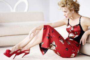 high heels green eyes red high heels red dress sitting rachel mcadams women dress actress red lipstick blonde women indoors