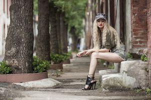 high heels sitting women blonde